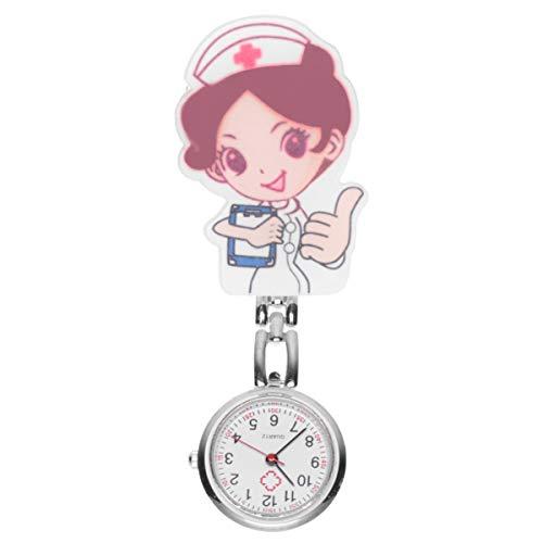 Baluue Reloj de Enfermera para Mujer - Reloj Colgante con Clip de Dibujos Animados Lindo Reloj de Bolsillo para Médico Reloj Colgante de Enfermera Reloj de Cuarzo Fob