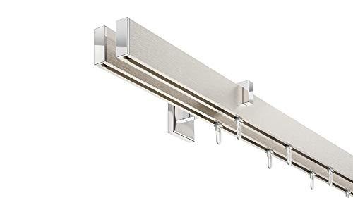 DécoProfi Innenlauf Gardinenstangen Set eckig Short, 2-läufig, Aluminium silbert eloxiert gebürstet/verchromt, 200 cm, kurzer Träger