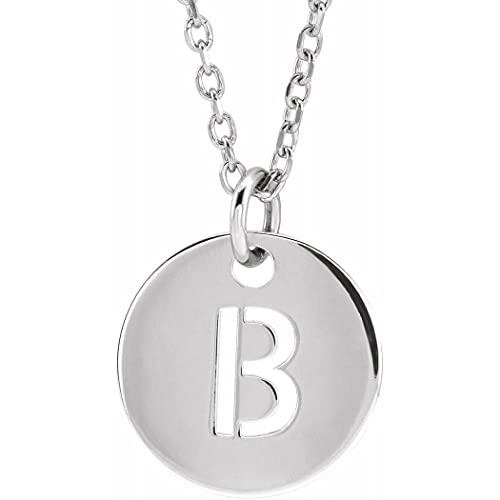 Collar colgante de oro blanco de 14 quilates con nombre de letra personalizada, monograma inicial B, 10 mm, 16 pulido, joyería para mujer, 46 cm