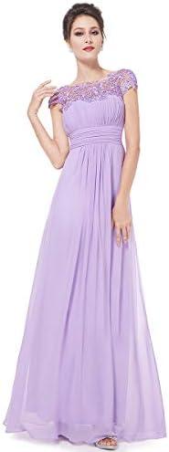 Ever Pretty Cap Sleeve Floor Length A Line Chiffon Dress Bridesmaid Dress 10 US Lavender product image