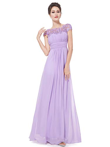 Ever-Pretty Womens Cap Sleeve Lace Neckline Ruched Bust Evening Gown 04 US Lavender