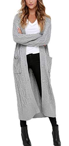 Aleumdr Strickmantel Strickjacke Damen Gestrickt Lose Cardigan Wintermantel Causal Cardigan Parkajacke Outwear mit Taschen und Langarm, Grau, Small(EU34-36)