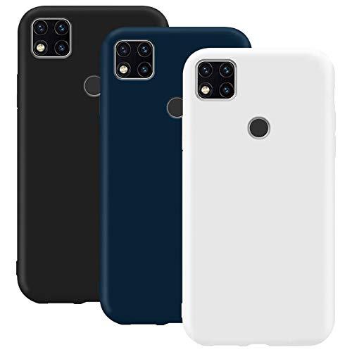 Coque en Silicone pour Xiaomi Redmi 9C, Misstars Ultra Mince Souple TPU Gel Mat Bumper Doux Léger Anti Rayure Antichoc Housse Étui de Protection pour Xiaomi Redmi 9C, Noir + Bleu Foncé + Blanc