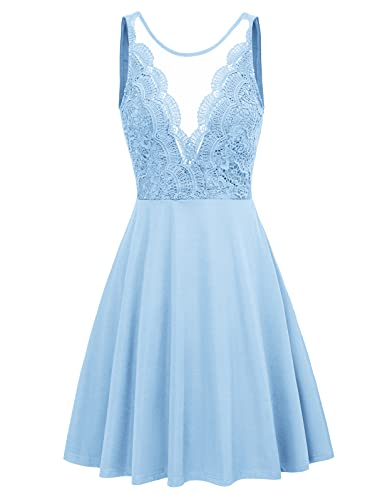 Women's Lace Deep V-Neck Sleeveless A-Line Wedding Party Formal Dress S Blue