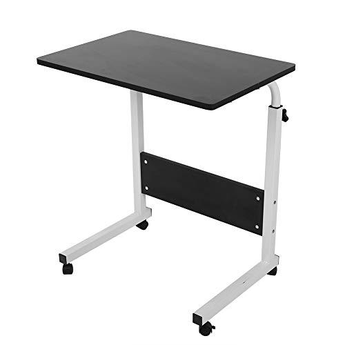 Mesa de noche para computadora, soporte ajustable para computadora portátil, bandeja de carro portátil, mesa auxiliar, negro