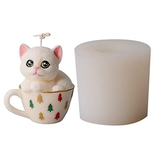 WTALL 3D Taza de té Gato Vela Molde Silicona Arcilla jabón Molde para la producción de Cera de Soja Cera de Abejas