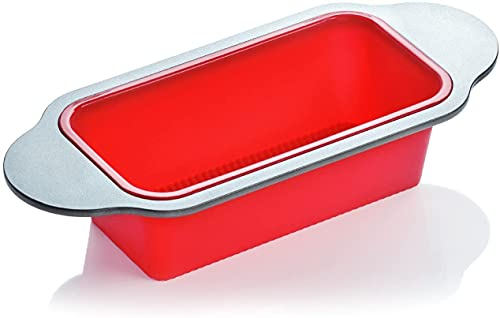 Gourmet Non-Stick Silicone Loaf Pan by Boxiki Kitchen. Professional Bakeware for Baking Banana Bread, Meat Loaf and Pound Cake. Includes BPA-Free Silicone, Steel Frame and Handles.