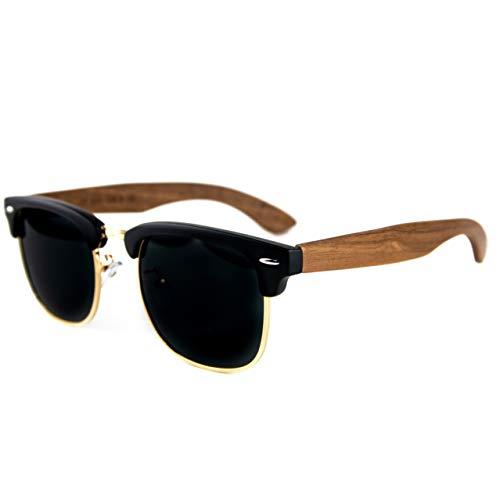 Holzwurm Sonnenbrille mit Holzbügeln aus Walnuss für Damen & Herren/Polarisierende Brillengläser mit UV400-Schutz/mit Brillenetui aus echtem Walnuss Brillenputztuch