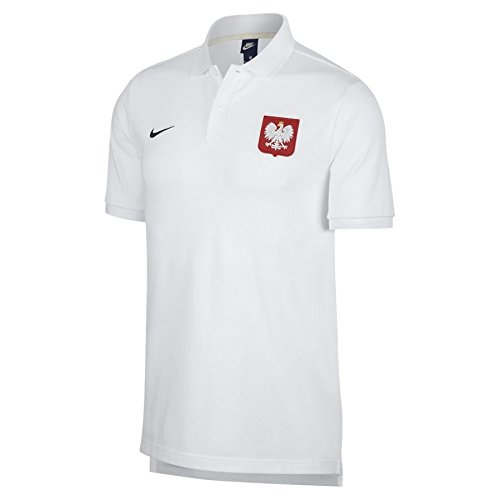 Nike 2018-2019 Poland Core Pique Polo Football Soccer T-Shirt Trikot (White)