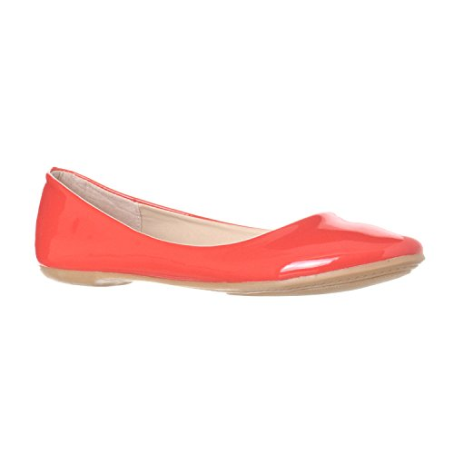 Riverberry Women s Aria Closed  Round Toe Ballet Flat Slip On Shoes  Coral Patent  7.5