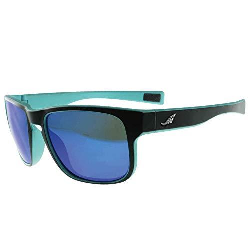 BIGWAVE Flow 980 Mintblau - Blau verspiegelte Premium Sportbrille mit 100% UV-400-Schutz – Bruchsichere, hochflexible Sonnenbrille für Radfahren Laufen, Klettern, Golf Winddicht für Damen und Herren