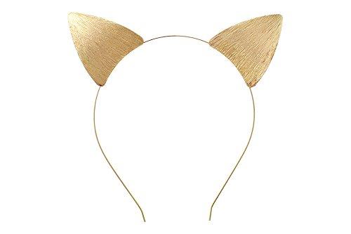 Rosemarie Collections Women's Fun Gold Toned Cat Ears Textured Metal Festival Wear Headband