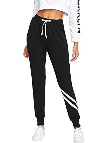 SOLY HUX Damen Sweatshose Streifen Sweatpants Elastischer Bund Hose Jogginghose mit Taschen, Kordelzug Schwarz L