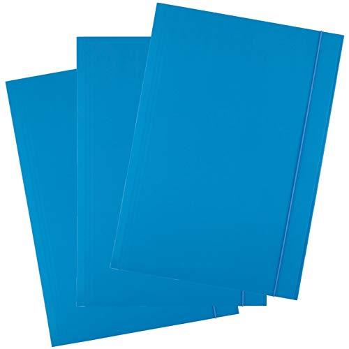 D.RECT, cartella portadocumenti in cartone, con elastico, 300 g, 25 pezzi Blu
