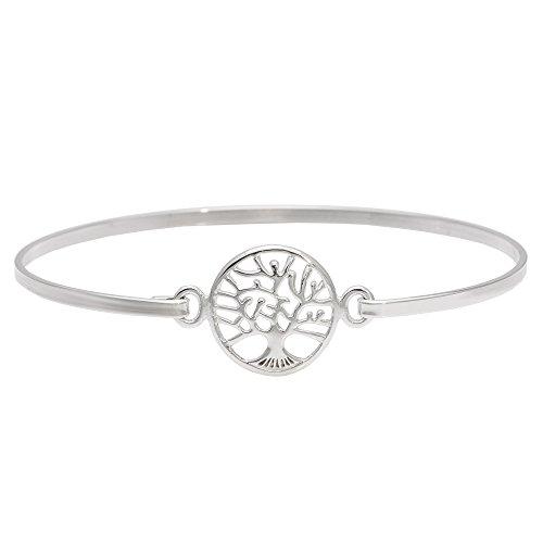 Silverly dames .925 sterling zilver boom des levens bord opdruk haak armband