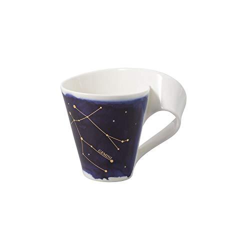 Villeroy & Boch - NewWave Stars Becher mit Henkel, formschöne Tasse mit Zwilling-Motiv, Premium Porzellan, spülmaschinengeeignet, weiß/blau, 300 ml