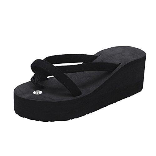 FNKDOR Damen Sommer Keilabsatz Zehentrenner Plateau Flip Flop Strand Sandalen Schuhe Pantoletten (36, Schwarz)