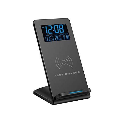 Lanrue - Despertador digital con pantalla de carga inalámbrica para teléfono, cargador de temperatura