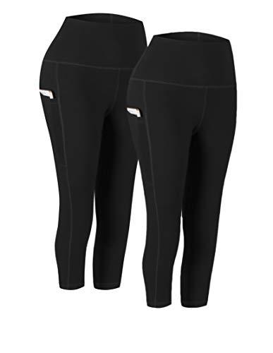 Fengbay 2 Pack High Waist Yoga Pants, Pocket Yoga Pants Capris Tummy Control Workout Running 4 Way Stretch Yoga Leggings