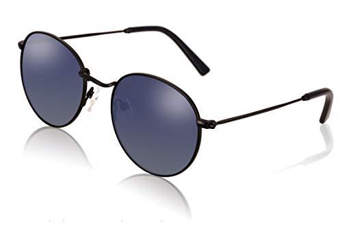 fawova Gafas De Sol Redondas Mujer Negro Polarizadas, Gafas Retro Vinatge Lennon con Lente Azul Degradado para Cara Pequeña, UV400, Cat.3, 50mm (Negro, Azul Degradado)