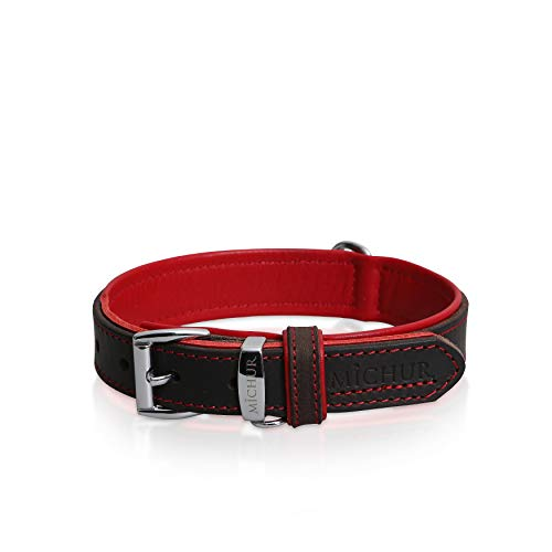 MICHUR Oleo Rot Hundehalsband Leder, Lederhalsband Hund, Halsband, Braun, Leder, in verschiedenen Größen erhältlich