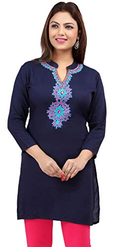 MapleClothing Rayon Damen Tunika-Oberteil mit Stickerei - Blau - Large.Büste 97 cm