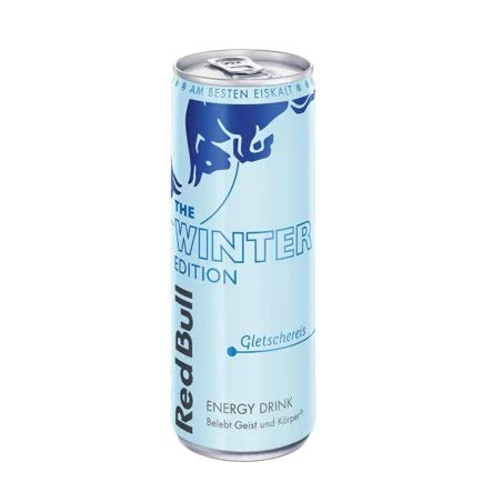 Red Bull Energy Drink Gletschereis OHNE Pfand Dosen Getränke, Winter Edition 24er Palette, 250 g