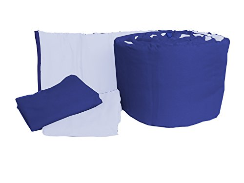 Baby Doll Bedding Solid Reversible Mini Crib/Portable Crib Bumper and Sheets Set, L.Blue/Royal