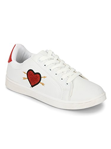 TRUFFLE COLLECTION White PU Red Heart Detail Lace-up Sneakers
