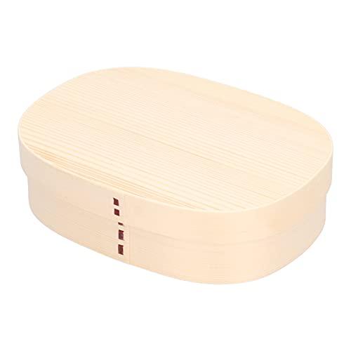 Duokon Bento Lunchbox, 1200ml Holz 3 Fächer Lebensmittelbehälter Tragbare Lunchboxen für Schulbüro Camping Picknick Reisen