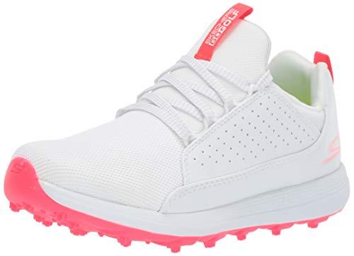 Skechers Girl's Max Mojo Spikeless Golf Shoe, White/Pink, 4 M US Big Kid