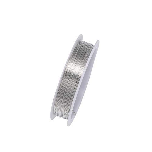 HLH Gioielli Filo Lega di Rame Filo Dia 0.3 0.4 0.5 0.2 0.6 0.7 0.8 1 Mm Fili di Metallo String Fili for Perle Fai da Te monili Che Fanno (Colore : Rhodium, Taglia : 0.4mm 9m per Roll)