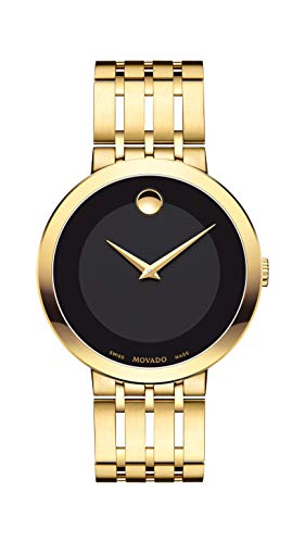 Movado Men's Esperanza Yellow Gold Watch with a Concave Dot Museum Dial, Gold/Black (Model 607059)