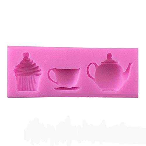 EORTA Silicone Paste Cake Fondant Mould Teapot Cup Cup Cupcake Pattern Decorating Baking Soap Mold for Birthday Christmas Party DIY Decorations, Random Color