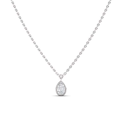 Diamondere Natural and GIA Certified Pear Cut Diamond Solitaire Petite Yard Necklace in 14k White Gold   0.30 Carat Pendant with Chain (0.30 Ct Pear Diamond)
