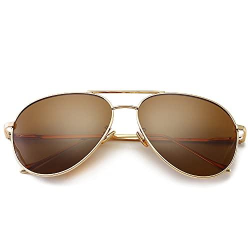 SUNGAIT Gran Tamaño Gafas de Sol Ligeras para Mujer con Lente Polarizada Espejada(Oro claro/marrón)-SGT603