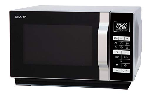 Sharp R260S-Microondas (800 W,20 l de capacidad,5 niveles de potencia,8 programas automáticos de cocción automática con programa de palomitas,horquilla plana,sin plato giratorio),negro y plateado