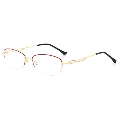CAOXN Gafas De Lectura Inteligentes Progresivas De Enfoque Múltiple, Lupa De Marco Ultraligero para Proteger Las Gafas De Mujer con Presbicia,Oro,+2.00