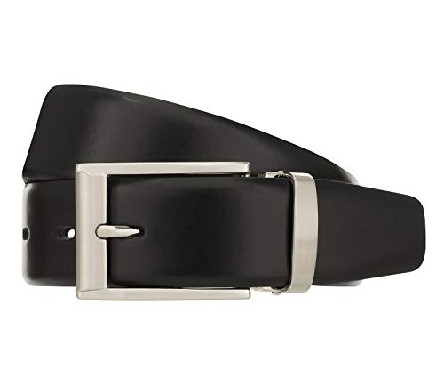 Bernd Götz Herren Leder Gürtel Ledergürtel Jeans Anzug Gürtel klassisch 3,5 cm schwarz 351317-0020, Länge:110 cm