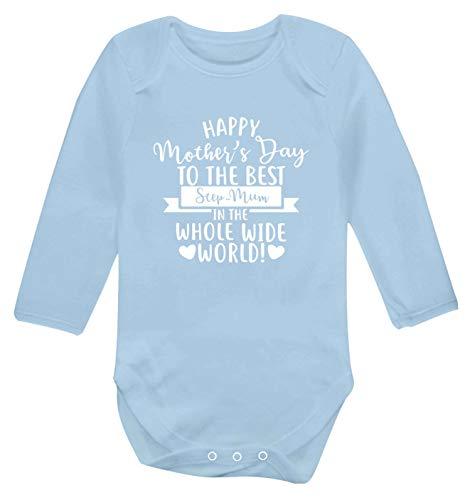 Flox Creative Gilet à Manches Longues pour bébé Inscription Happy Mother's Day Best Step-Mum in World - Bleu - Nouveau né