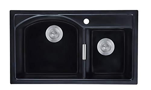 Homary 32' Granite Double Bowl Kitchen Sink Drop-In Quartz Kitchen Sinks Matte Black