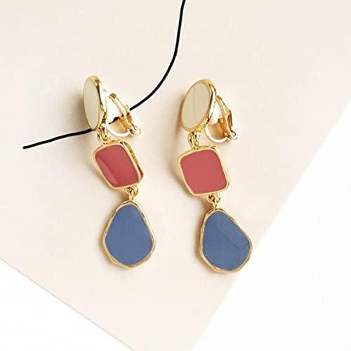 Korean Design Long Geometric Gold Enamel Clip on Earrings No Pierced for Fashion Women Girls Party Ear Clips Jewelry Wholesale