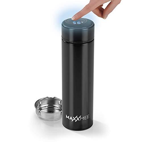 MAXXMEE Thermosflasche mit Temperaturanzeige und LED-Touch | Edelstahl Trinkflasche, Reisebecher oder Kaffeebecher Travel Mug inkl. Teesieb | Auslaufsichere Isolierflasche [500 ml/Schwarz]