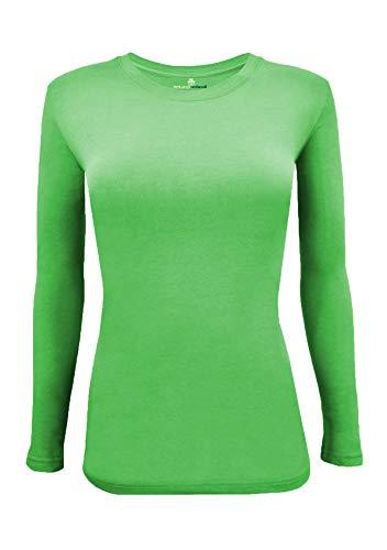 Natural Uniforms Women's Under Scrub Tee Crew Neck Long Sleeve T-Shirt (Lime Green, 2X-Large)