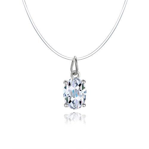 XCWXM Collar Simple para Mujer Cadena Invisible Collar de Hilo de Pescar Transparente Colgante de Cristal de Diamantes de imitación en línea para Red Twenty One