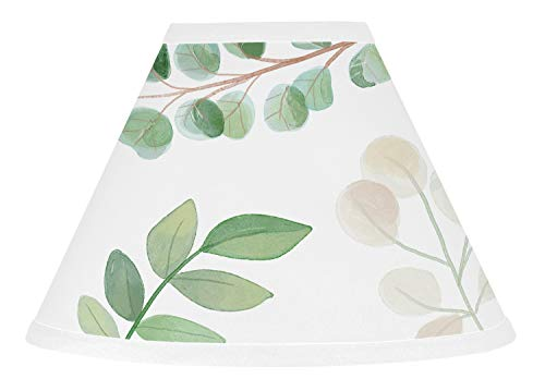 Sweet Jojo Designs Floral Leaf Lamp Shade - Green and White Boho Watercolor Botanical Woodland Tropical Garden