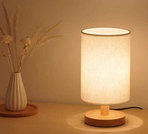 Nachttisch Kleine Lampe dimmbar mit LED-Birnen-warme USB Powered Schlafzimmer Schreibtischlampe (Khaki Schirm), Farbe: Khaki Lampshade (Color : Beige Lampshade)