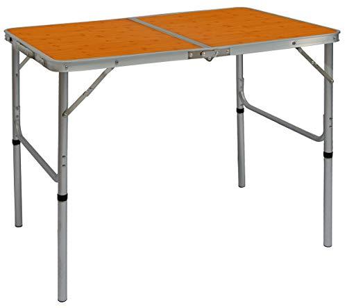 AMANKA Alu Campingtisch 90x60cm - Klapptisch Picknicktisch Leichter Falttisch höhenverstallbar Bambus-Optik
