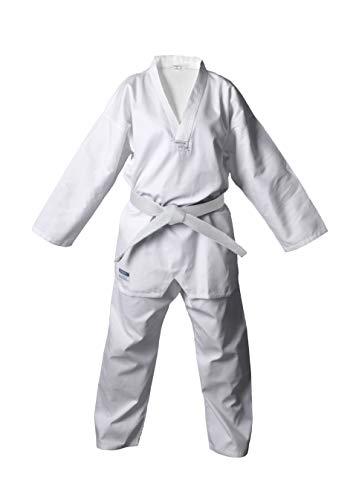 DEPICE Taekwondo Anzug Kibon - Traje Completo de Artes Marciales para Mujer, Color Blanco, Talla DE: 130 cm