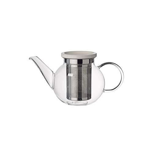 Villeroy und Boch Artesano Hot Beverages Teekanne mit Sieb, 500 ml, Borosilikatglas/Edelstahl/Porzellan, Klar
